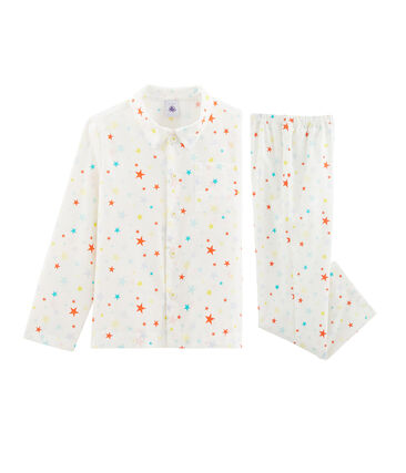 Boys' Twill Pyjamas Marshmallow white / Multico white