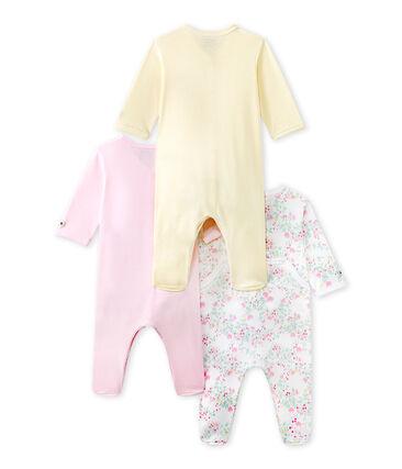 Set of three baby girl's sleepsuits