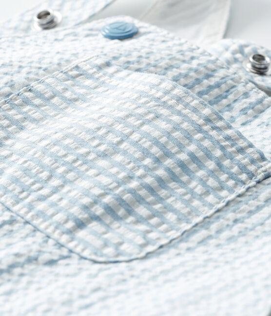 Baby Boys' Striped Short Dungarees Acier blue / Marshmallow white