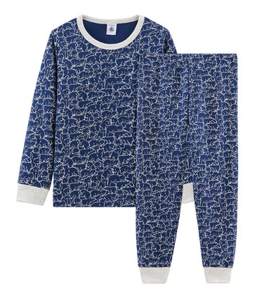 Boys' Fleece Pyjamas Major blue / Marshmallow white