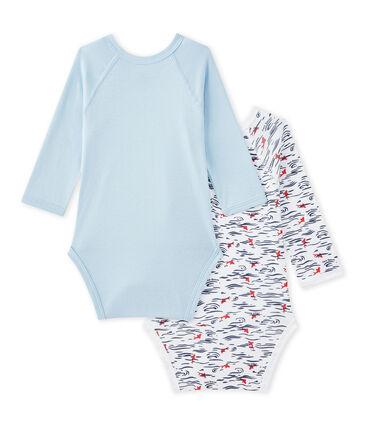 Set of 2 newborn baby boys' long-sleeved bodysuits
