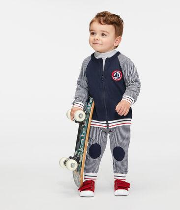 Baby Boys' Zip-Up Tube Knit Cardigan Smoking blue / Marshmallow white