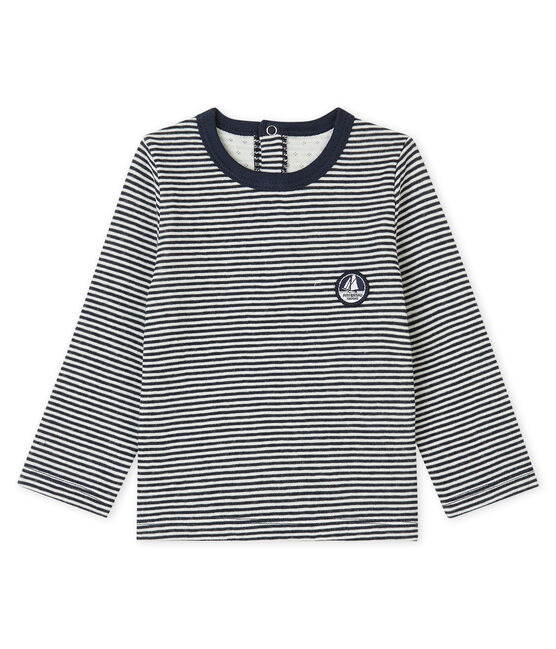 Baby Boys' Tube Knit T-Shirt Smoking blue / Coquille beige