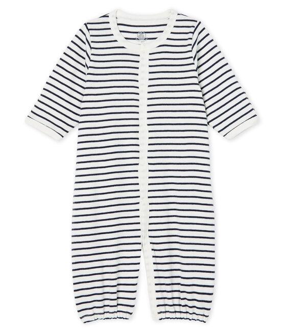 Babies' Ribbed Jumpsuit/Sleeping Bag Marshmallow white / Smoking blue