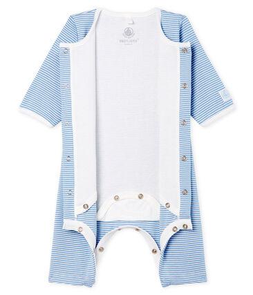 Baby Girls' Footless Ribbed Bodyjama Acier blue / Marshmallow white