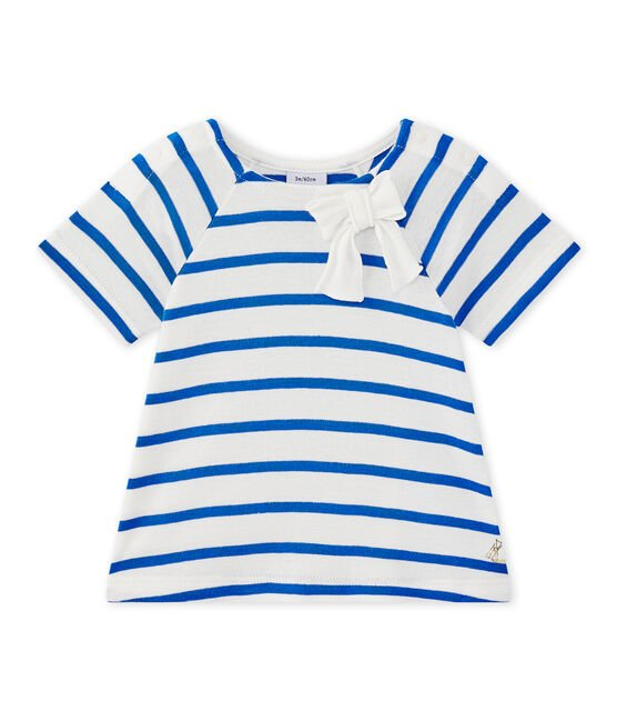 Baby girl's long-sleeved striped T-shirt Marshmallow white / Perse blue