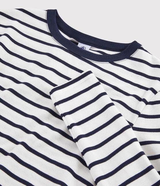 Women's Iconic Round Neck T-Shirt Marshmallow white / Smoking blue