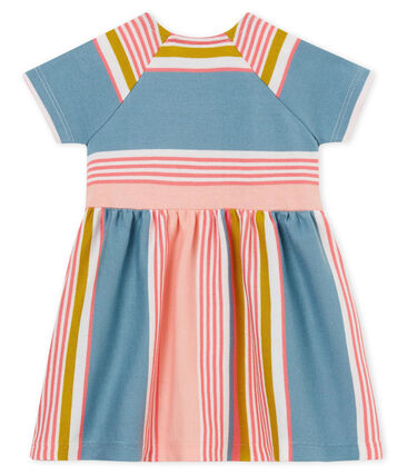Baby girls' striped dress Marshmallow white / Multico white