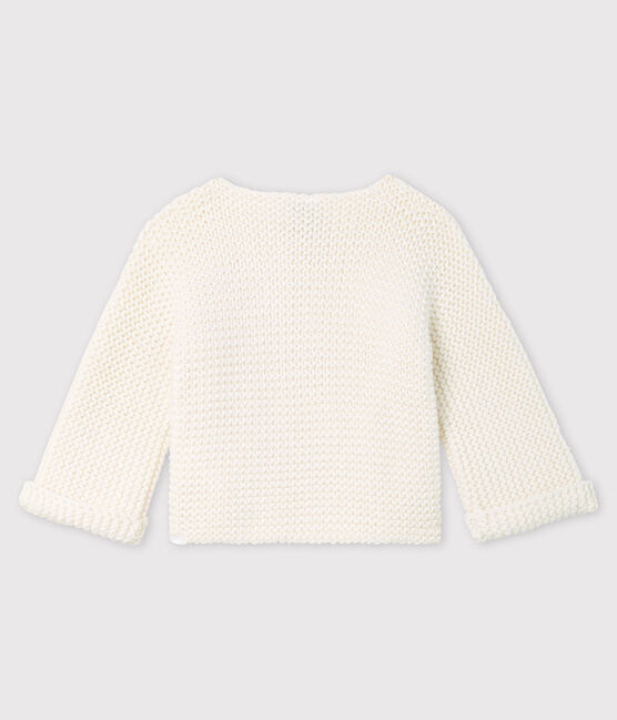 Baby girl's wool and cotton mix cardigan Marshmallow white