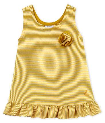 Baby Girls' Sleeveless Dress Bamboo yellow / Marshmallow white