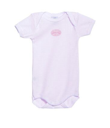 Baby girl short-sleeved milleraies striped bodysuit Vienne pink / Ecume white