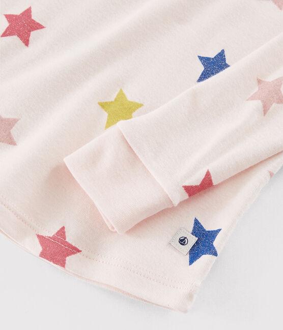 Girls' Snugfit Stars Rib Knit Pyjamas Fleur pink / Multico white