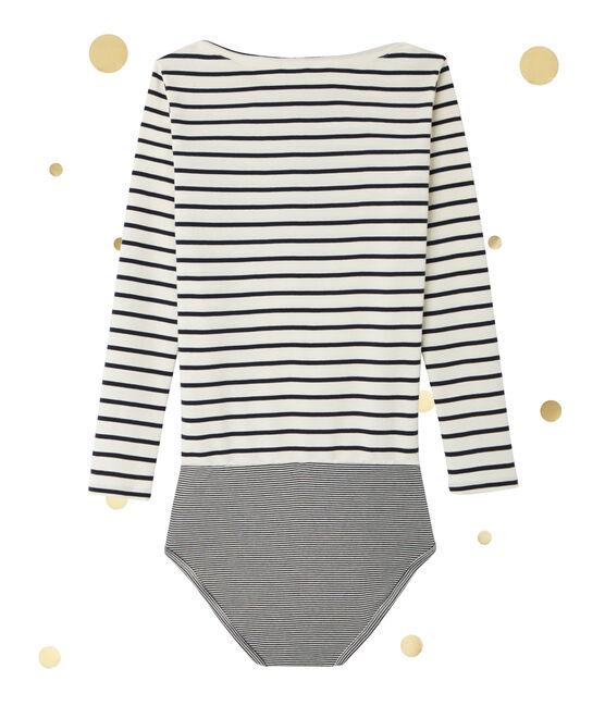 Women's long sleeved body. Petit bateau x Marie-Agnès Gillot Coquille beige / Smoking blue