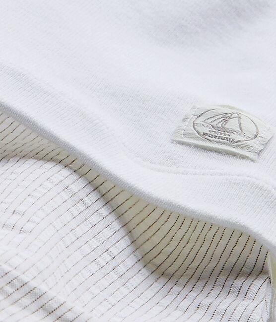 Baby boys' dual-fabric romper Ecume white / Beige beige