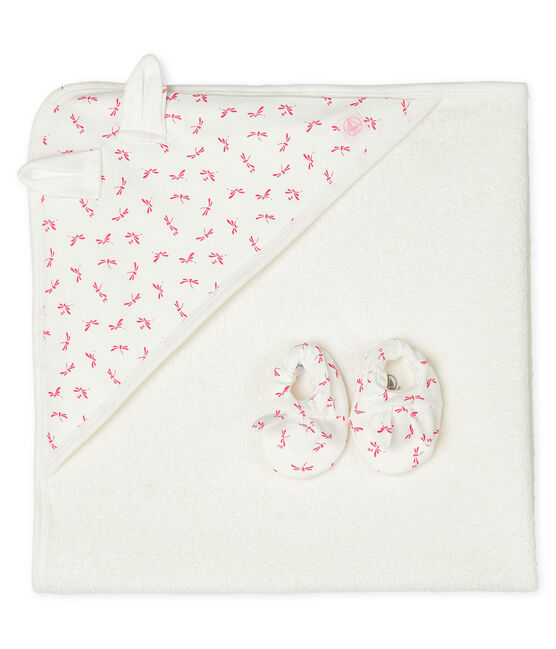Babies' Square Bath Towel and Bootees Set in Terry and Rib Knit Marshmallow white / Groseiller pink