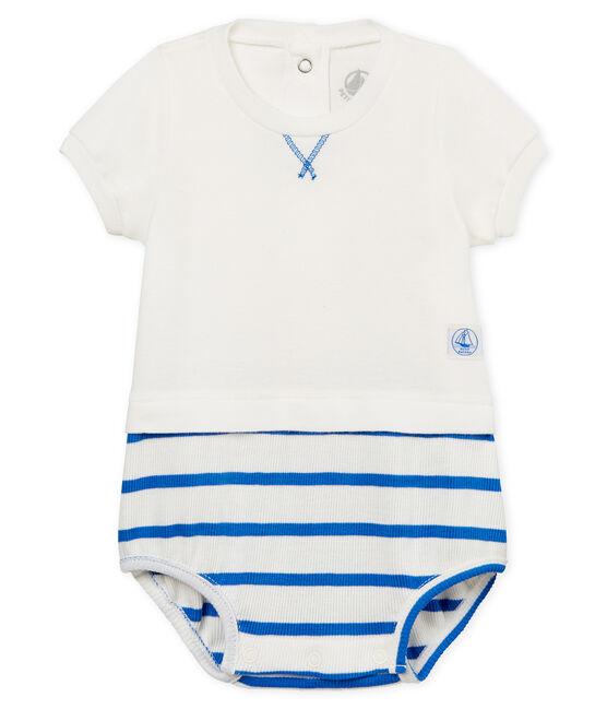Baby boys' playsuit Marshmallow white / Cool blue