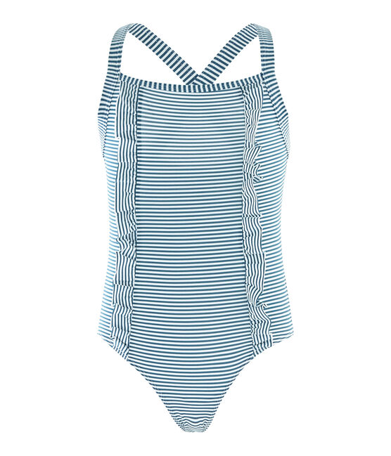Girls' One-Piece Swimsuit Pinede green / Marshmallow white