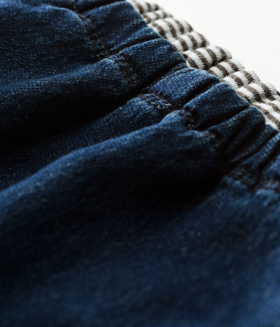 Unisex baby trousers in denim effect lined knit Denim Bleu Fonce blue