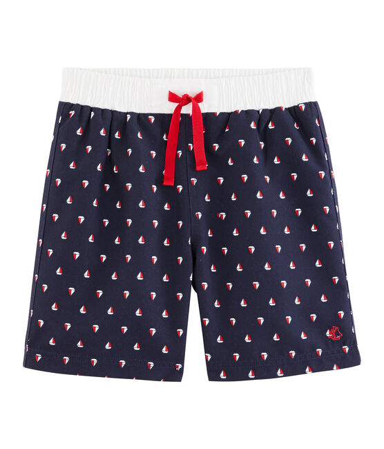 Boys' Print Beach Shorts Submarine blue / Multico white