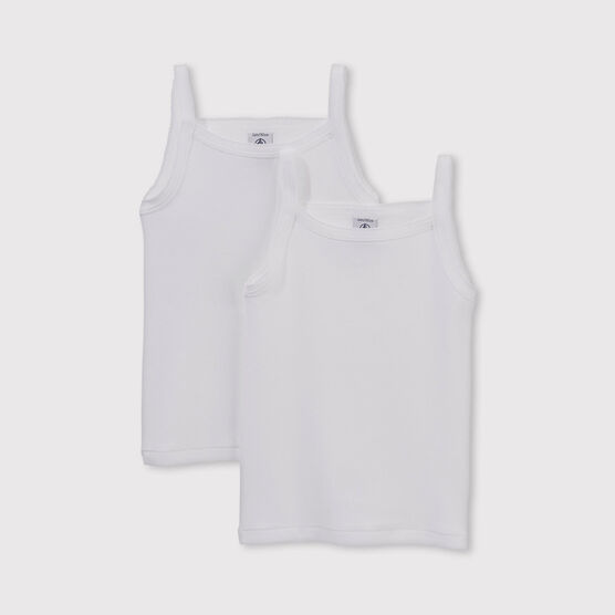 Set of 2 little girls' plain white vests with straps . set