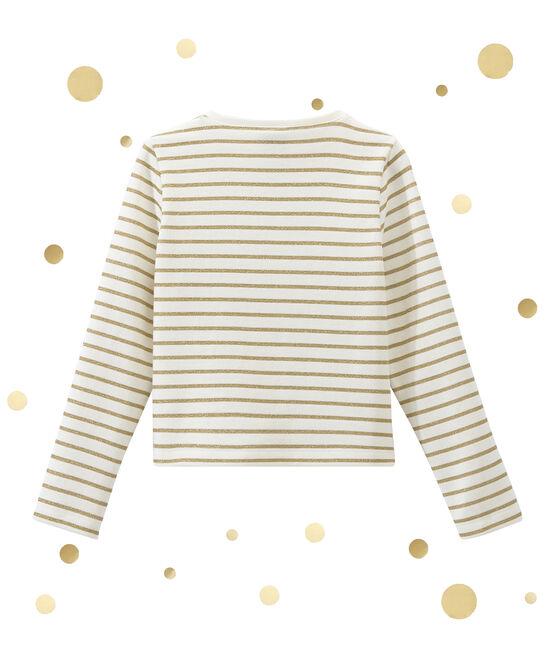 Girl's dual fabric cardigan Marshmallow white / Dore yellow