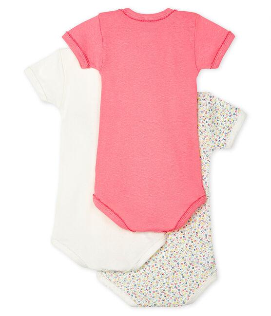 Baby Girls' Short-Sleeved Cotton/Linen Bodysuit - 3-Piece Set . set