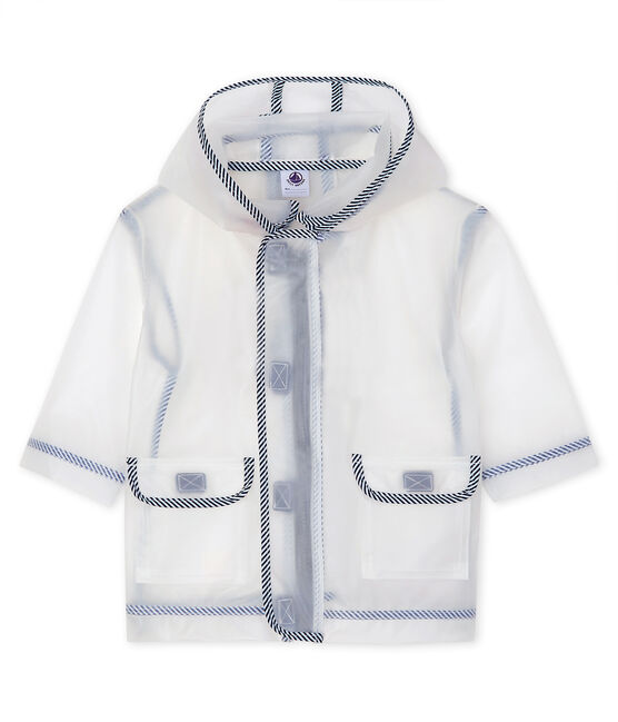 Unisex transparent waxed coat for babies Translucide white