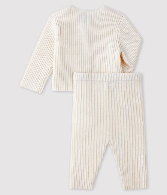 White ribbed knit baby's 2-piece outfit Marshmallow white