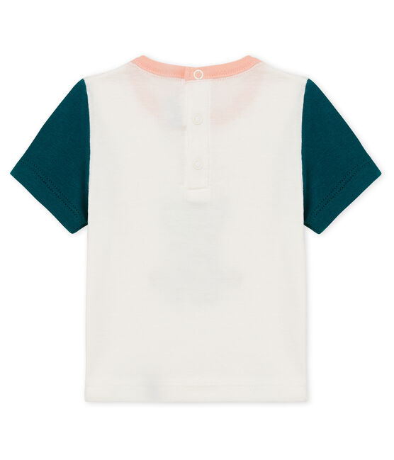Baby boys' t-shirt with motif Marshmallow white / Pinede green