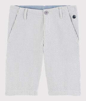 Boys' Seersucker Bermuda Shorts Gris grey / Marshmallow white