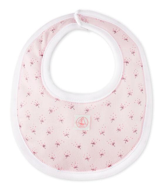 Baby's unisex printed bib Vienne pink / Multico white