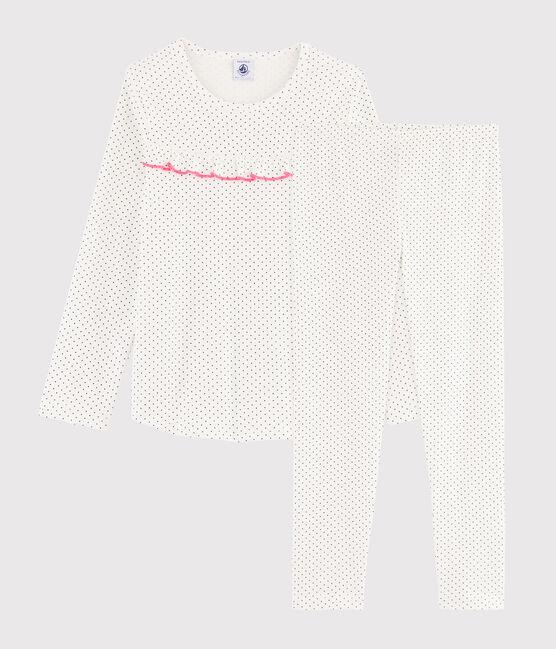 Girls' Polka Dot Ribbed Pyjamas Marshmallow white / Medieval blue
