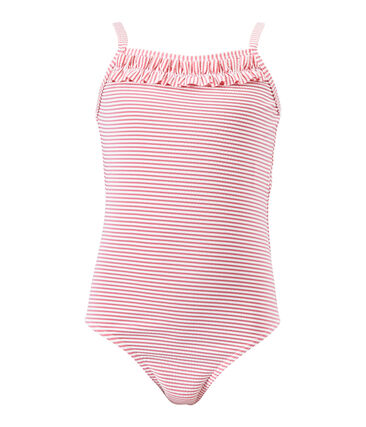 Girl's striped one-piece swimsuit Petal pink / Marshmallow white