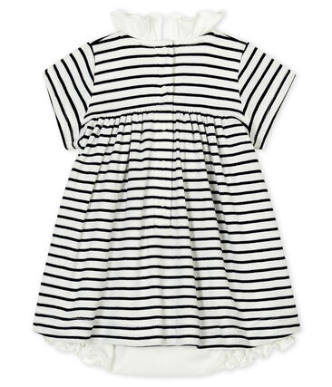 Baby girls' short-sleeved cotton bodysuit/dress Marshmallow white / Smoking blue