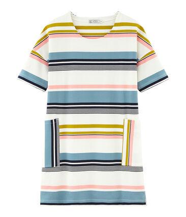 Women's short-sleeved dress Marshmallow white / Multico white