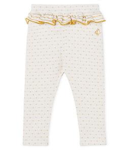 Baby Girls' Ruffled Leggings Marshmallow white / Or yellow