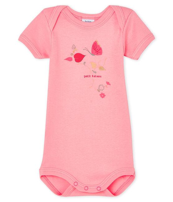 Baby girls' short-sleeved bodysuit Gretel pink