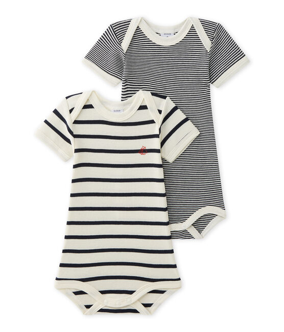 Set of 2 baby's striped unisex bodysuits . set