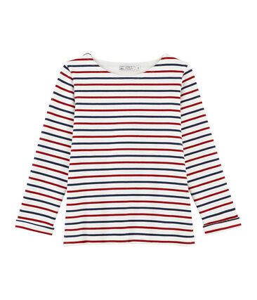 Women's tri-colour Breton stripe top Marshmallow white / Terkuit red / Medieval blue