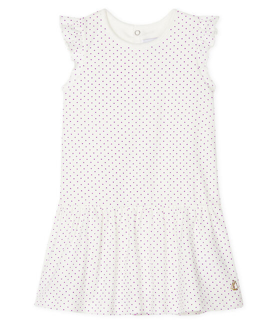 Baby Girls' Printed Dress/Bodysuit Real purple / Marshmallow white