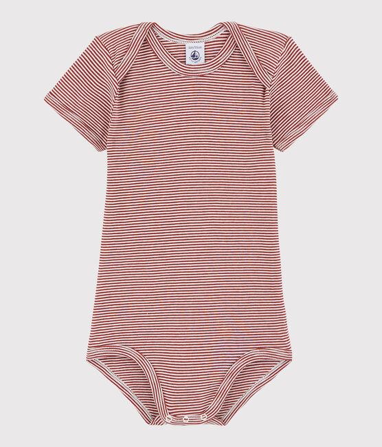 Unisex Babies' Short-Sleeved Bodysuit Carmin red / Marshmallow white