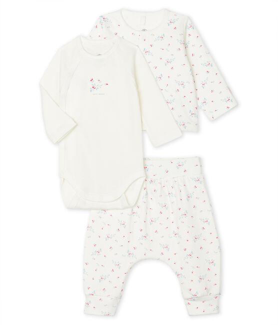 Unisex Baby's Tube Knit Clothing - 3-Piece Set Marshmallow white / Multico white