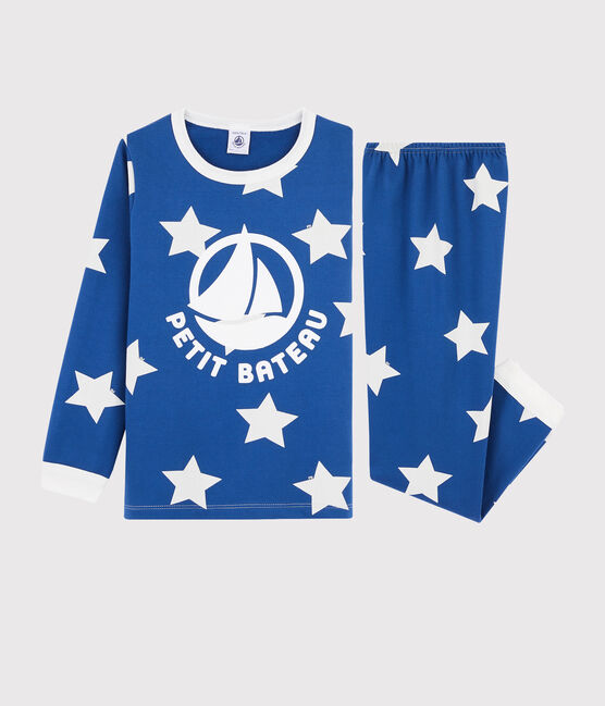 Boys' Starry Fleece Pyjamas Major blue / Ecume white