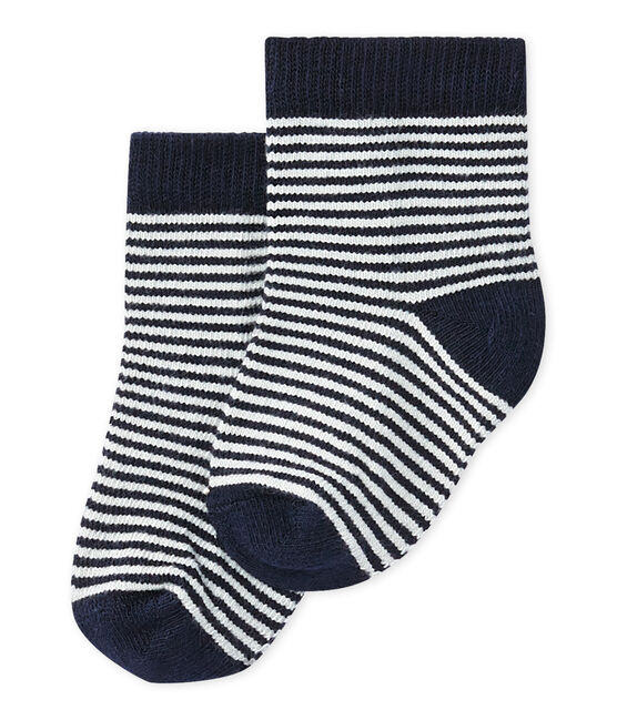 Unisex baby pinstriped socks Smoking blue / Coquille beige
