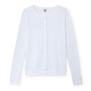 Women's long-sleeved V-neck striped tee Ecume white