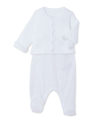 Baby cardigan and sleepsuit set