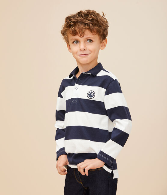 Boys' Long-Sleeved Polo Shirt Smoking blue / Marshmallow white