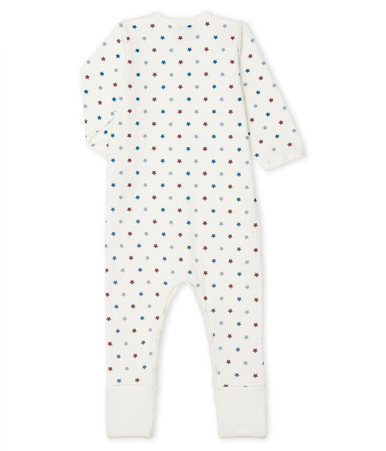 Baby boy's reversible footed sleepsuit Marshmallow white / Multico white