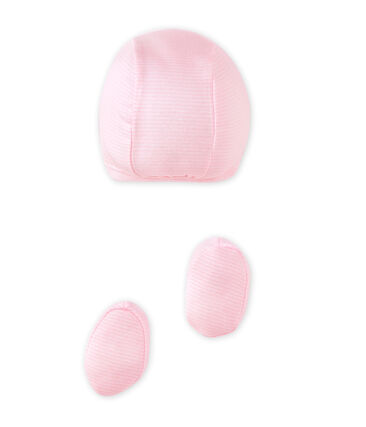 Baby girls' bonnet and booties set