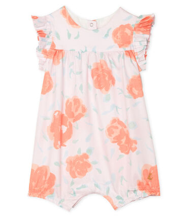 Print satin playsuit for baby girls Vienne pink / Multico white